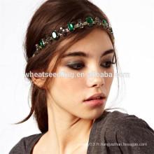 Glitter vert diamant strass élastique élastique headband cheveux
