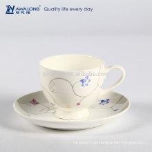 Cappuccino Plain Großhandel Werbeartikel Keramik Bone China Kaffeetasse und Untertasse Set