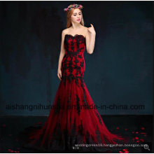 Mermaid Wine Black Lace Appliques Wedding Dress