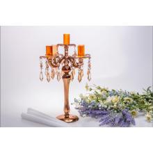 Golden Five Poster Glass Candle Holder for Wedding Decoration