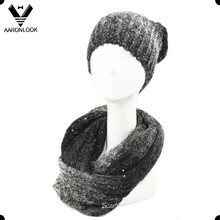 Trendy Blended Yarn with Sequins Loop Scarf and Beanie Winter Set