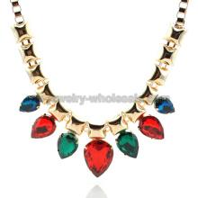 De piedra con arco iris plateado oro de las mujeres gota collar de perlas