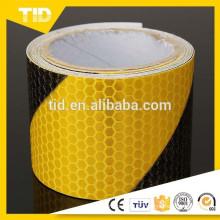 Fita de aviso de segurança reflexiva, amarelo preto, lado direito, pente de mel