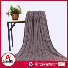 hot selling soft acrylic knitting crochet blanket backside sherpa