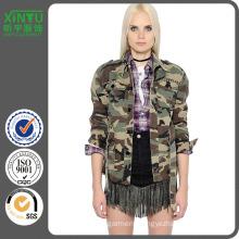 2016 Studded Camo Cotton Denim Field Jacket