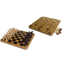 Bamboo Chinese Outdoor Chess set+Nine Men Morris+Checkers Board Games Set