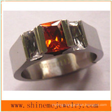 Shineme Jewelry Wire Cut Fashion Red Stone Titanium Rings (TR1831)