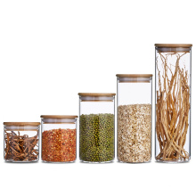 Wholesale Round wide mouth kitchen glass jars with bamboo lid glass jar with seal