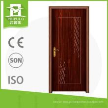 Porta de madeira decorativa do pvc interior do protetion da corrosão com projeto da porta principal da porcelana