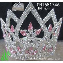 New designs rhinestone royal accessories custom tall pageant crown tiara