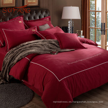 Rose roja romántica para siempre votos 100% algodón hoja de cama matrimonial