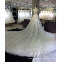 Princesa Champagne vestido de novia con 3 metros de tren
