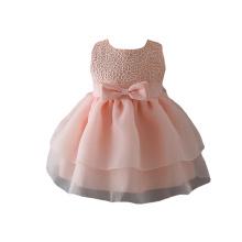 Heißer Verkauf koreanische Baumwolle rosa Rose Blume kleines Mädchen Brautkleider