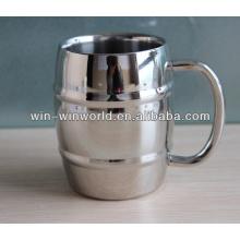 Double Layer Polished Metal Beer Mug With Handle