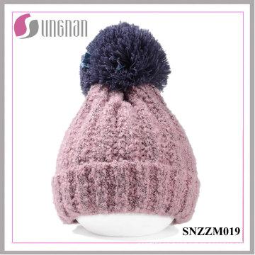 2015 Winter Thickening Wool Ball simple punto gorra unisex sombrero caliente