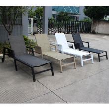 Outdoor aluminum sling sun lounger with wheel and cushion