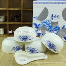 Salat Schüssel Keramik ,, Essgeschirr Typ Baby Schüssel, grüne Keramik Schüssel mit Abziehbild, chinesische Schüssel blau