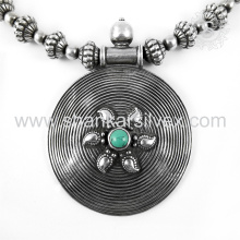 Schöne türkis Edelstein Silber Halskette Schmuck 925 Sterling Silber Schmuck indischen Silber Schmuck