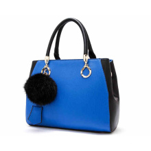 Fashion Candy Contrast Color PU Leather Tote Shoulder Handbag for Women with Pompom (ZX10089)