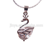 Fashion Bling White Swan Simple Design Pendant Necklalce
