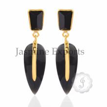 Royal Design !! Beautiful Black Onyx Gemstone Earrings, Handmade 925 Sterling Silver Pear Shape Earrings