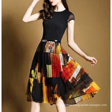 15PKSD02 2015 spring summer breathable chiffon silk dress