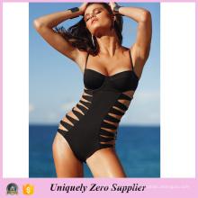 2016 Women Sexy Black Hollow One-Piece Beachwear avec bretelle spaghetti