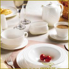 Set de cena blanco de la porcelana de 10 PCS Serie elegante de las líneas del euro