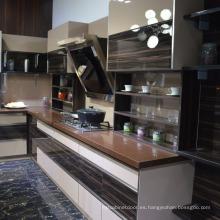 Marco de aluminio Puerta de vidrio Levantamiento de la cocina Gabinete de pared Muebles de cocina Nuevo diseño de cocina