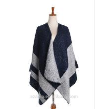 Ladies stripe winter poncho shawl