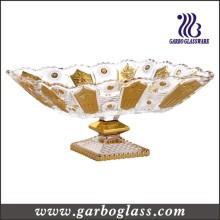 Gloden Plating Glass Fruit Bowl