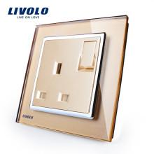 Livolo Fabricant Interrupteur Mural À 1 Bouton Gang 1 Voie Avec Prise 13A VL-W2Z1UK1-13