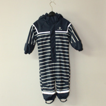 Blue Hooded PU Stripe Conjoined Raincoat/Overall for Children