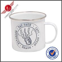 Décalque en gros Tasses en émail en tasse avec bord en acier inoxydable