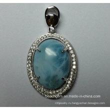 Ювелирные изделия стерлингового серебра природных Larimar в Кулон (P0309)