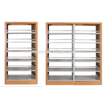 Metal library furniture wooden cover double side bookshelf