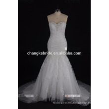 2017 China Factory Made Strapless Lace Appliqued Tulle Wedding Dress