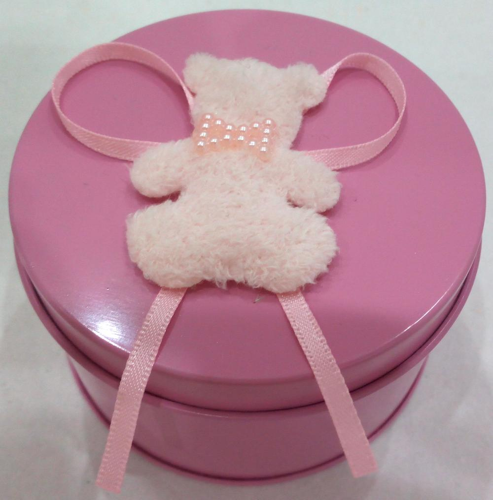 Round Candle Tin Box med Bear Decoration