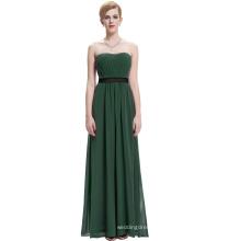 Starzz Strapless Off Shoulder Long Dark Green Chiffon Simply Bridesmaid Dress ST000066-7