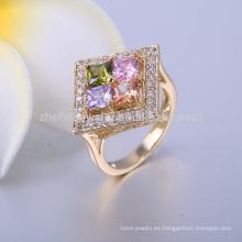 joyería de latón anillos de plata chapada en oro vermeil pavimenta el anillo