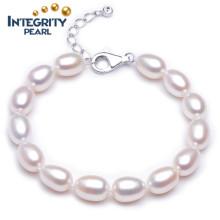 8-9mm Riz AAA avec bracelet en perle d'eau douce blanche en fer forgé en argent 925