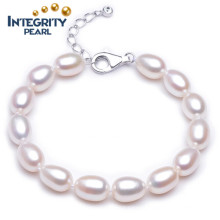 8-9mm Rice AAA with 925 Sterling Silver Clasp White Freshwater Pearl Bracelet