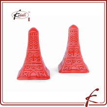 Эйфелева башня декоративной красной глазури керамической соли и перца шейкер