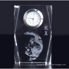 Simple Design Square Crystal Clock with Logo