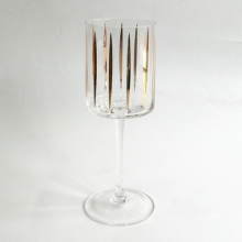 Red Wine Glass With Gold Decal