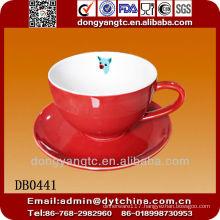 Wholesale 325cc ceramic soup mug with saucer