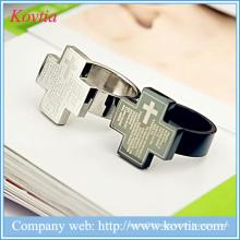 Cool cross ring for men Bible Jesus Christ rings titanium ring steel jewelry