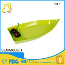 Art und Weise kreatives Design Plastikmelamingeschirr-Boot geformte Platte