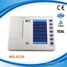 Cardiographe à 6 canaux EKG / ECG Machine / Electrocardiographe ECG Machine (MSLEC20)