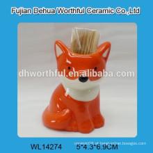 Venda quente fox forma cerâmica toothpick titular